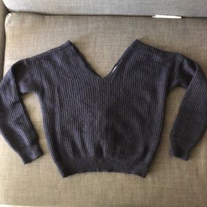Anthropologie Navy Twist Back Sweater Size Small